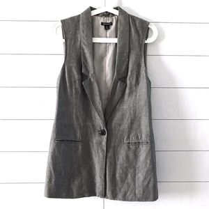 I Heart Ronson Gray One Button Sleeveless Vest